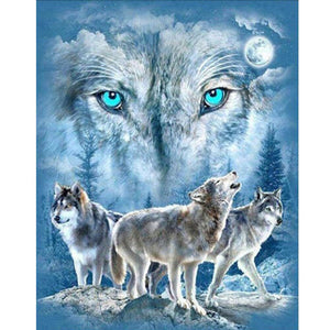 DIY Diamond Embroidery Animal wolves Cross Stitch Diamond Painting Scenery Round rhinestones Home Decor gift wedding decoration - S@Ssons
