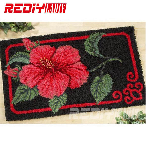 DIY Carpet Rug Red Hibiscus Flowers 3D Latch Hook Rug Crocheting Tapestry 100% Acrylic Yarn Cushion Set for Embroidery Floor Mat