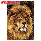 Hot Latch Hook Rug Kits DIY Needlework Unfinished Crocheting Rug Yarn Cushion Mat King of Lion Embroidery Carpet  Free Shipping
