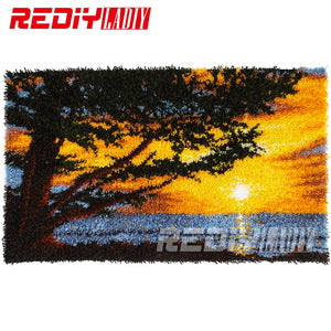 DIY Latch Hook Rug Kits Unfinished Crocheting Tapestry Yarn Needlework Cushion Set for Embroidery Carpet Scenery African Sunset