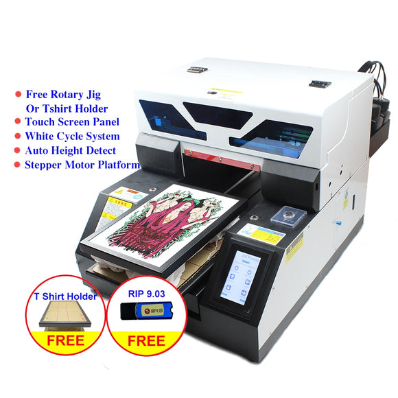 Dual-use Touch Screen A4 UV printer DTG Tshirt textile fabric UV printing machine a4 for bottle phone case Jeans Metal wood pen