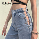Echoine high quality harajuku high waist hollow out Chain design Slim jeans woman leisure streetwear Commute strgight pants