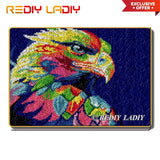 Latch Hook Rug Kits Rainbow Eagle Crocheting Carpet Rug 100% Acrylic Yarn Cushion Mat DIY Carpet Rug Home Decor Arts & Crafts