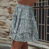 Women Floral Pleated Skirts Ladies Summer Holiday Bohe High Waist Ruffled Beach Skirt Sexy Mini Skirts Faldas Mujer Moda 2020 - S@Ssons
