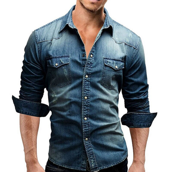 JODIMITTY Denim Shirt Men Cotton Jeans Shirt Fashion Autumn Slim Long Sleeve Cowboy Shirt Stylish Wash Slim Tops Asian Size 3XL