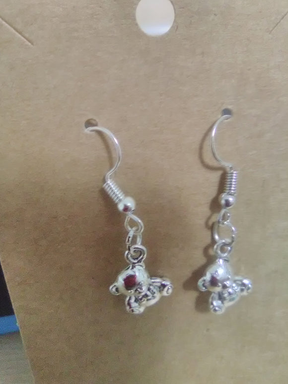 Teddy bear handmade earrings.