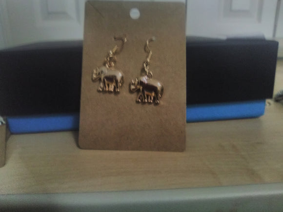 Gold charm elephant earrings handmade