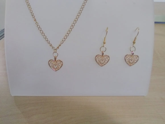 Heart gold plated jewelry set handmade