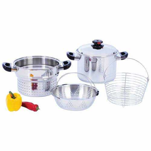 8qt T304 Stainless Steel Stockpot/Spaghetti Cooker with Deep Fry Basket & Steamer Inserts - S@Ssons