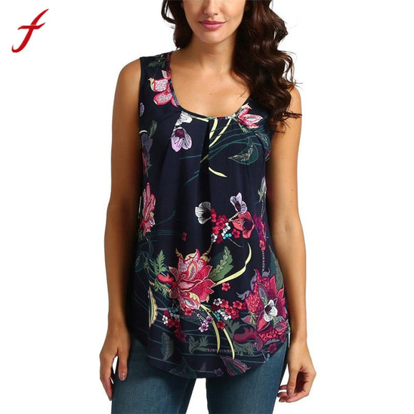 Ladies Fashion Sleeveless Tees Printed Floral in Summer Style - S@Ssons