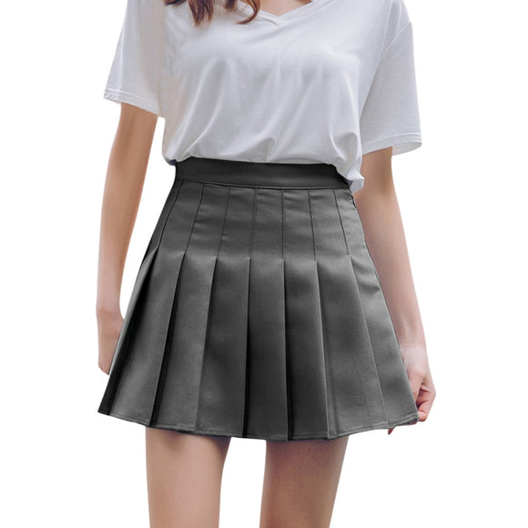 Ladies High Waist Pleated Skirt Students Girls Elegant Party Skirts Slim High Waist Casual Tennis Skirt Faldas Mujer Moda 2020 - S@Ssons