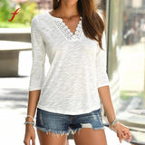 Long Sleeves V Neck Lace Patchwork t-shirt for women - S@Ssons