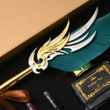 Retro Vintage Calligraphy Feather Fountain Pen Writing Ink Leather Notebook Set