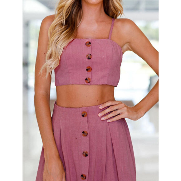 Women Bowknot Beach Buttons Tops and Skirt Set Of Two Pieces