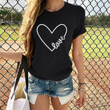 Women Heart Print T Shirt Valentine's Day Short Sleeve Couple Tshirt O Neck Womens Tops And Shirts Camisetas Verano Mujer 2020 - S@Ssons
