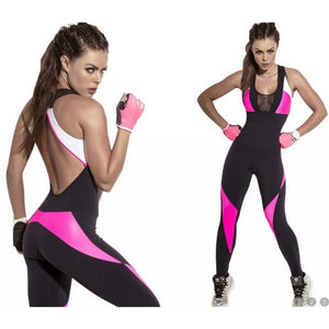 compression exercise outfit young lady plus size Gym one-piece dresss young female dj exercise Rompers back cut low gauze work 1 piece Outfits Overalls Yoga Sets - S@Ssons