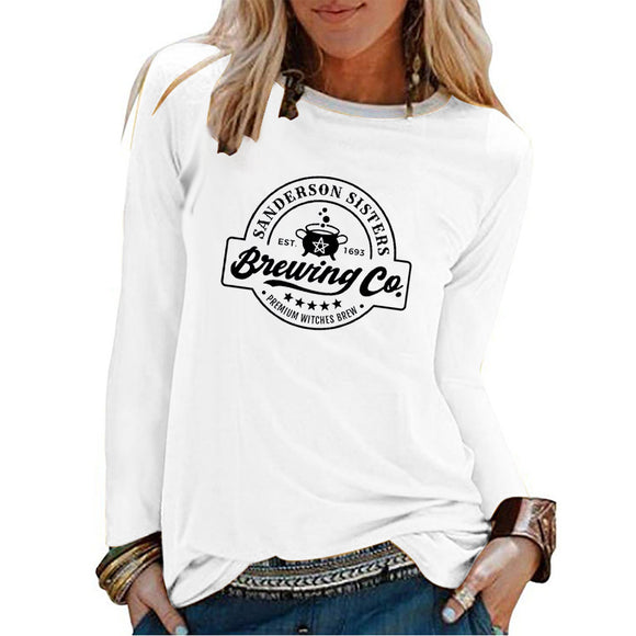 T shirts Printing Fashionable Comfortable 100% Cotton Casual Vintage Long Sleeve Tshirt Women