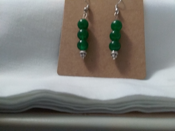 Green dangle handmade  earrings