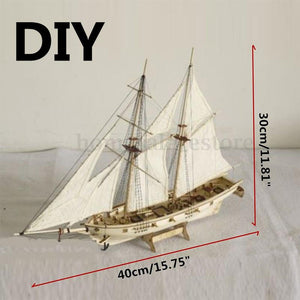 Kuulee 1:100 Scale Wooden Wood Sailboat Ship Kits Home DIY Model Home Decoration Boat Gift Toy for Kids Sailboat Mould
