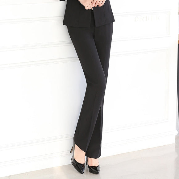 Korean Office Ladies Plus Size Black Blue Grey Trouser for Women Cotton Dress Pants Woman Spring Autumn Winter Regular Pants 5XL
