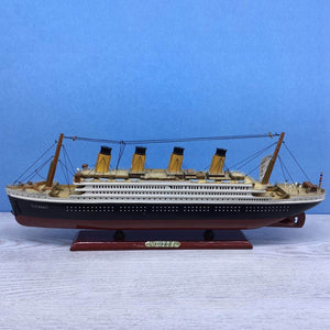 LUCKK 55 35 CM Mediterranean Titanic Wooden Model Ships With LED Home Decoration Nautical Wood Crafts Cruise Creative Furnishing