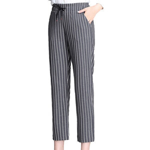 Korean Style Womens Office Pants High Waisted Pencil Pants Women Dress Pants for Women Black White Blue Striped Suit Trousers