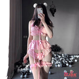 Sexy Costumes Lolita Women Erotic Lingerie Set Cute Ruffles Lace Ladies Kawaii Babydoll Soft Girl Pajamas Cosplay Outfit 3 Color