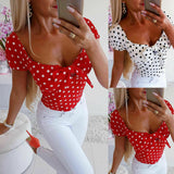 Women Boho Polka Dot Sexy Bodycon Dress Summer Holiday Sundress Beachwear New Ladies Summer Casual Blouse Tops Shirt