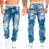 WEPBEL Men's Fashion Jeans Casual Full Length Trousers Straight Men's Pants Hip-Hop Cowboy Jeans