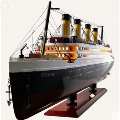 30-100 CM Wooden Titanic Cruise Ship Model with LED Decoration Wood Sailboat Craft Lights Creative Decor