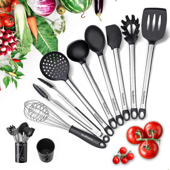 9-in-1 Silicone Handle Cookware Silica Gel Utensils Kitchenware Non-Stick Pan Shovel Spoon Spatula Kitchen Cooking Tool Set