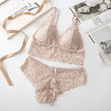 Women Lace Bra Sets Seamless Underwear Backless Vest Sexy Panties Lingerie Padded Bralette Ultrathin Briefs Female  Intimates