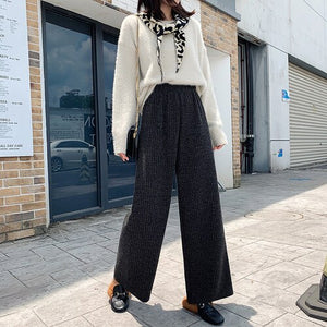 NIJIUDING 2020 Autumn and Winter Korean Wide-leg Pants High-waist Solid Color Loose Elastic Waist Straight Casual Women Trousers
