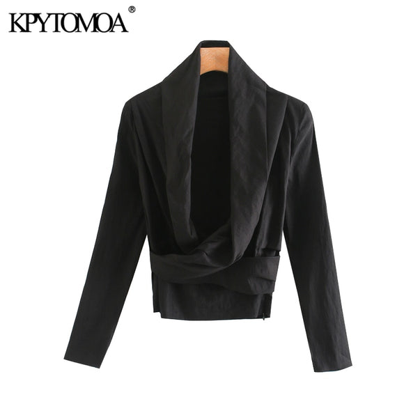 KPYTOMOA Women 2020 Fahsion Asymmetric Neck Draped Blouses Vintage Long Sleeve Side Zipper Stretchy Female Shirts Chic Tops