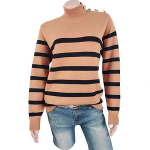 Hot Sale Women Casual Sweater Long Sleeve Knitted Sweater Turtle Neck Striped Print Pullover Top For Winter
