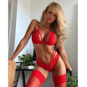 Women Sexy Lingerie Set Lace Babydoll Underwear Lace Bra+G-string 2pcs Panties Lingerie Sexy Hot Erotic Sleepwear Red