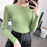 Autumn and Winter Women's Korean Slim Sweater Women Tight Long Sleeve Pullover Women Bottoming Sweater Women's Knitwear 10817