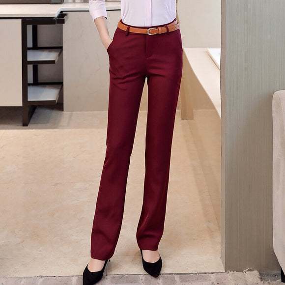 Ladies High Waisted Formal Dress Pants for Office Women Work Soft Straight Pencil Pants Pockets Full Length Black Blue Grey Red