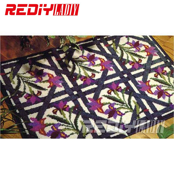 REDIY LADIY Latch Hook Rug Floor Mat Wall Tapestry Orichid Pattern Pre-Printed Canvas Yarn Embroidery Unfinished Carpet 85x60cm