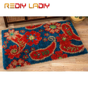 Latch Hook Rug Crochet Floor Mat Flowers Fruits Tapestry Kits Acrylic Yarn Printed Canvas Cushion DIY Carpet Rug Arts & Crafts