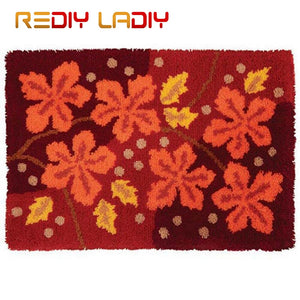 Latch Hook Rug Crocheting Cushion Mat Maple Leaves Tapestry Kits Acrylic Yarn Pre-Printed Canvas DIY Carpet Rug Arts & Crafts