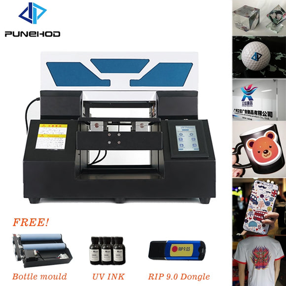 Punehod A4 UV Flatbed Printer Phone Case Color Automat Injet Embossed Varnish DTG T-shirt Printing Machine w/free Bottle Holder