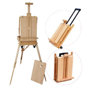 Red Beech Portable Rolling Sketch Box Oil Wooden Painting Easel with Palette Wood Color Wood Artist Art Display Easel Craft