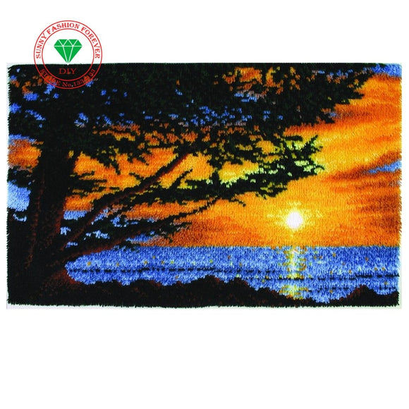 Landscape 3D Latch Hook Rug Kits DIY Needlework Unfinished Crocheting Rug Yarn Cushion Mat Embroidery Carpet Rug Handmade carpet