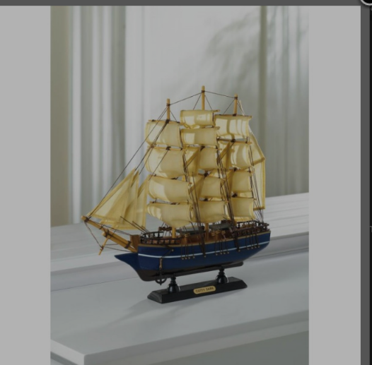 BRITISH CLIPPER MODEL SHIP MADE FROM WOOD AND COTTON