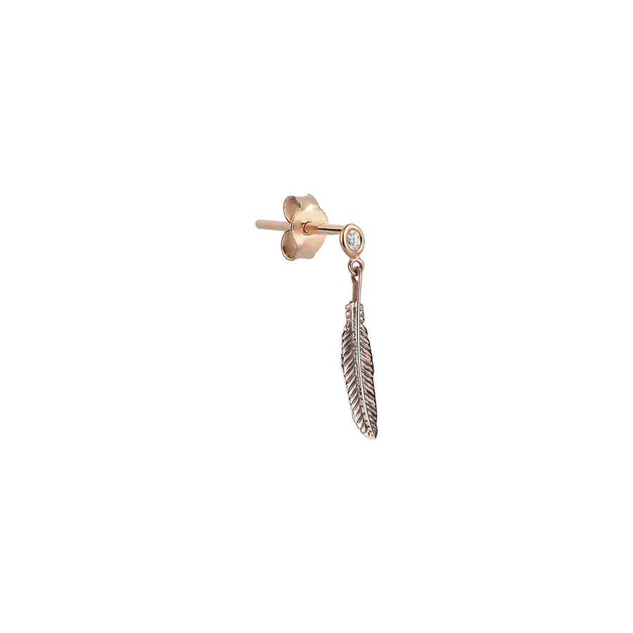 Solitaire Feather Eardrop
