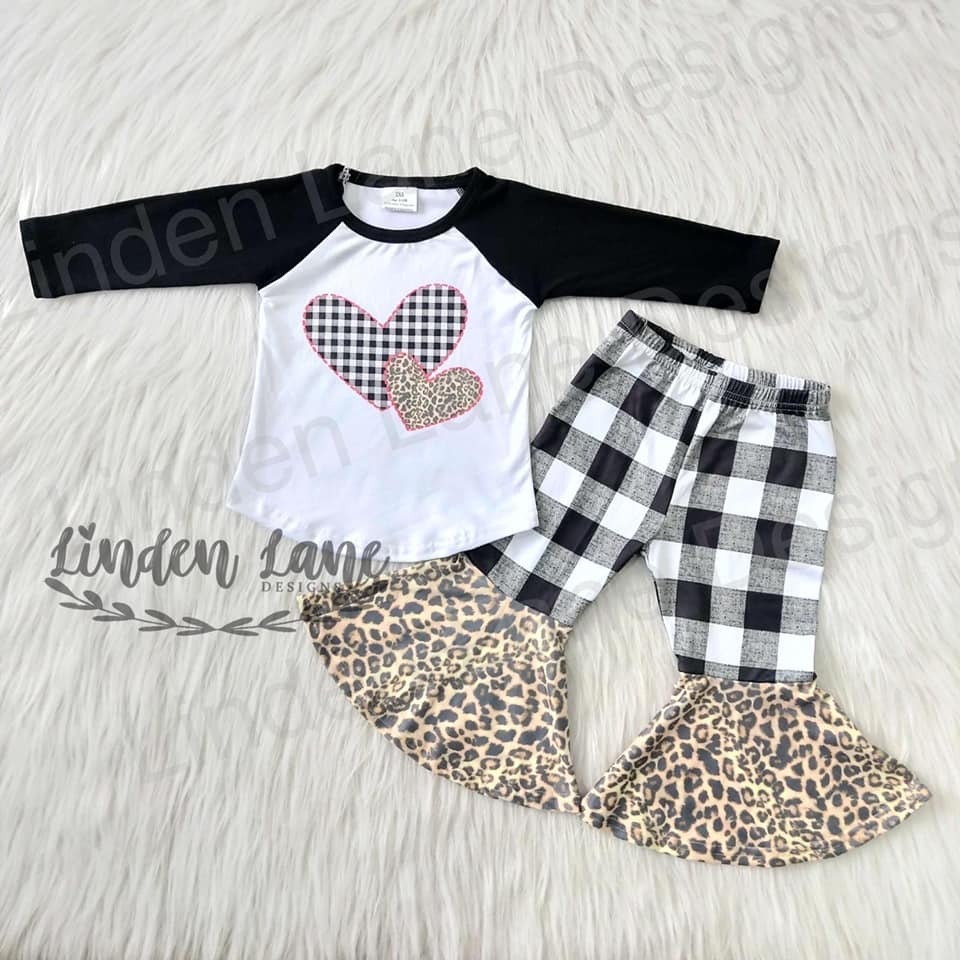 Black and White Plaid Ragland Heart Shirt