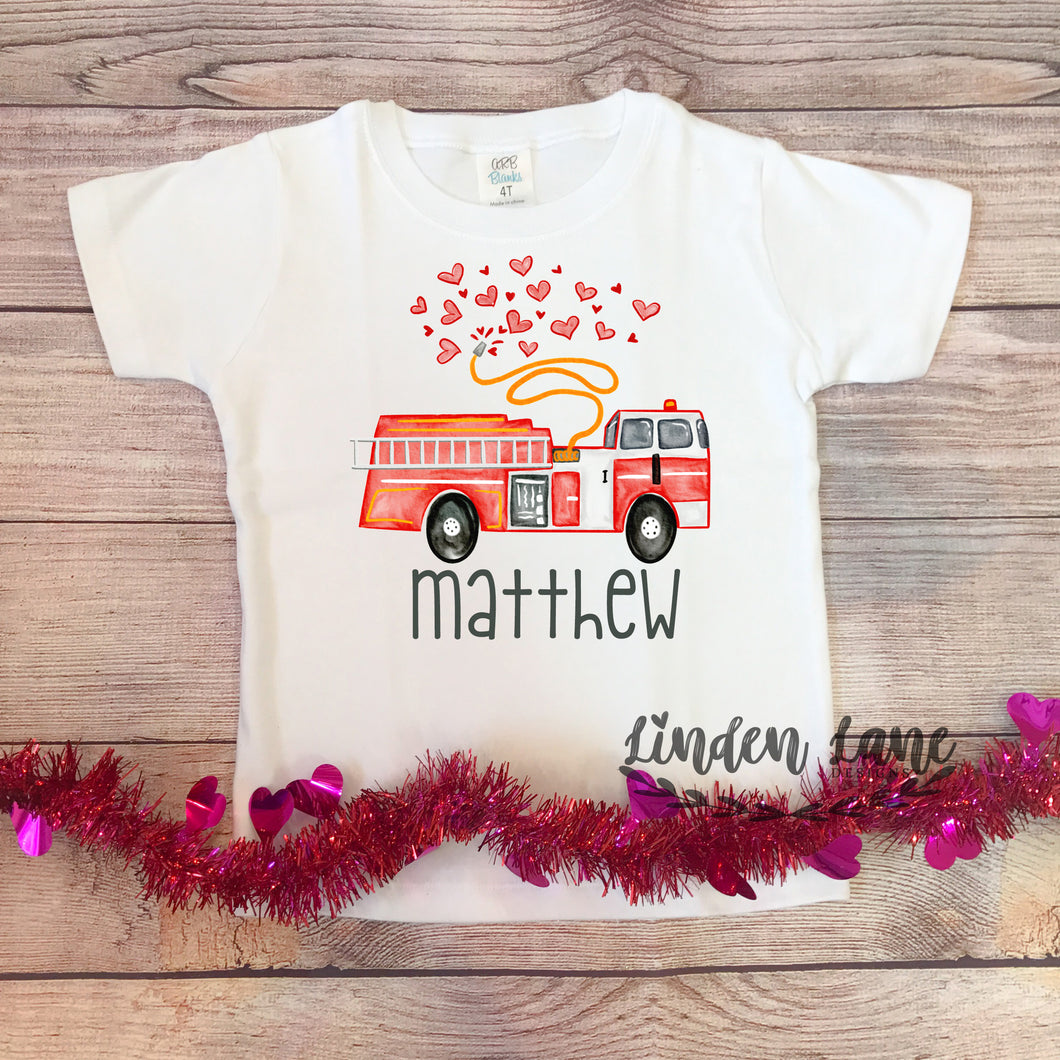 Boys Firetruck Valentines Day Shirt (Personalized)