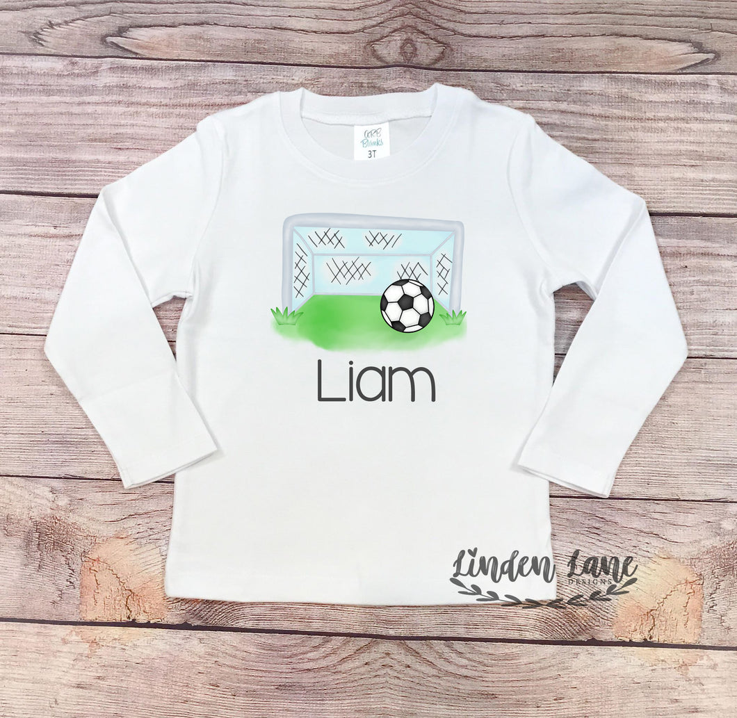 Boys Soccer Goal and Ball Shirt (Personalized)