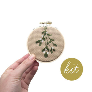 Mistletoe Cross Stitch Ornament Kit by Junebug and Darlin